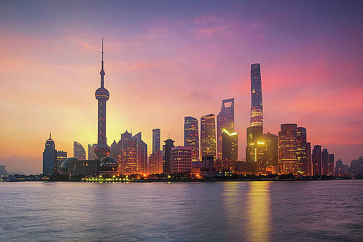 Pudong Skyline at sunrise by Anek Suwannaphoom