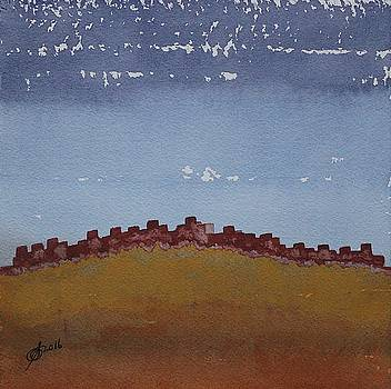 Pueblo on the Hill original painting by Sol Luckman
