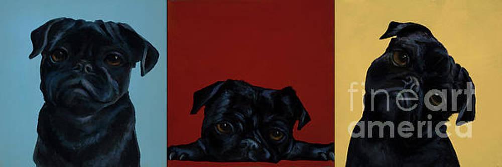 Pug Trio by Alyson Kinkade