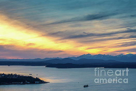 Puget Sound Sunset Evening by Mike Reid