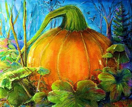 Pumpkin in Woods by Bernadette Krupa