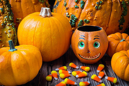 Punkin Face And Candy Corn by Garry Gay