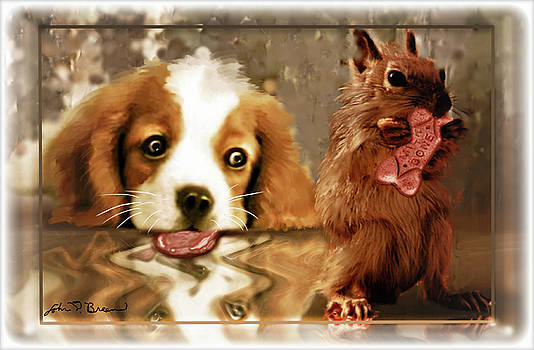 Pup and Squirrel by John Breen