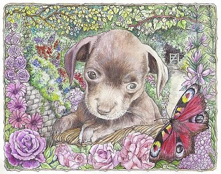 Puppy And Roses by Morgan Fitzsimons