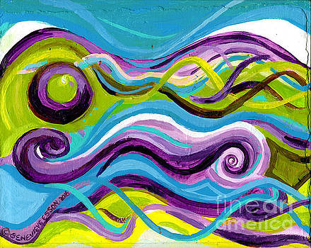 Genevieve Esson - Purple Blue and Green Waves