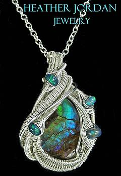 Purple Blue Green Ammolite Wire-Wrapped Pendant in Sterling Silver with Ethiopian Opals - AMLTPSS8 by Heather Jordan
