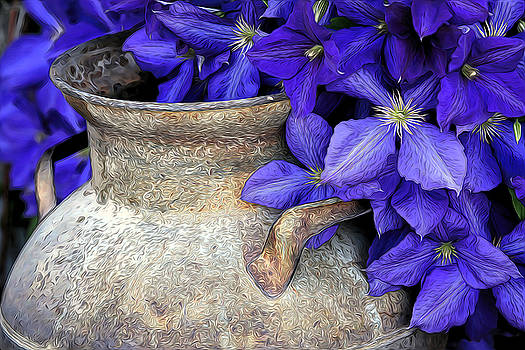 James Steele - Purple Clematis And A Milk Can