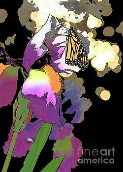 Purple Iris and Butterfly  by Luana K Perez