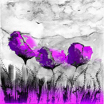Purple Tulip Cushion by Peter Stevenson