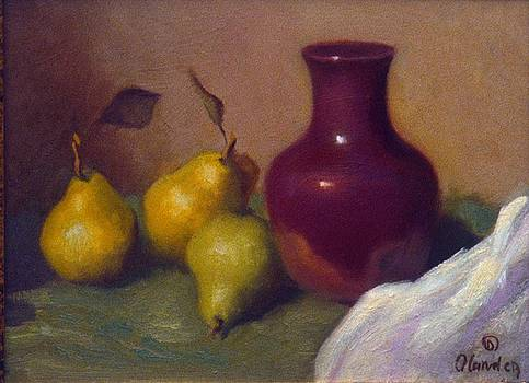 Purple vase with three pears by David Olander