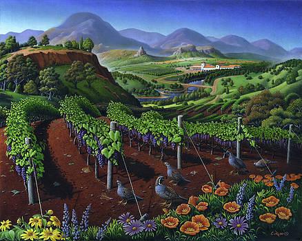 Quail Strolling Along Vineyard Wine Country Landscape - Vintage Americana by Walt Curlee
