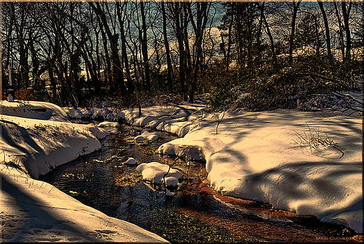 Quiet brook on a snowcovered landscape by Mikki Cucuzzo