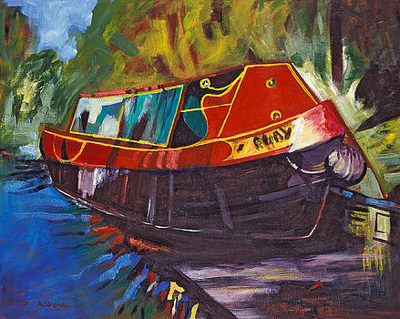 QUIET HAVEN acrylic painting of an old fashioned canal boat by Phil Albone
