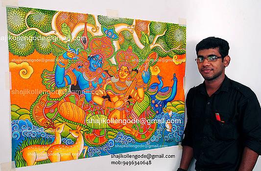 Radhamadhavam- Kerala Mural Painting by Shaji Kollengode