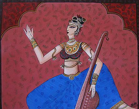 RAGINI Indian woman practicing vocal by Smita Medpalliwar