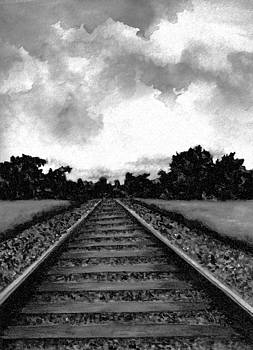 Railroad Tracks - Charcoal by Michael Vigliotti