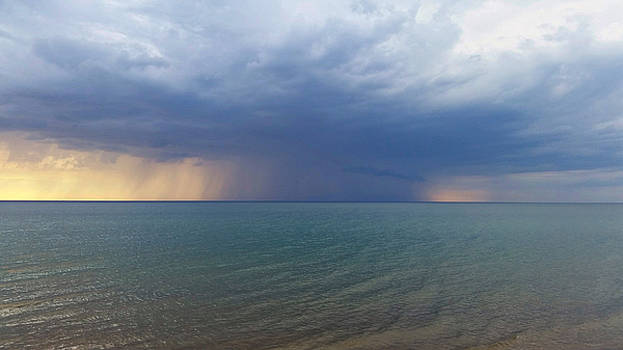 Rain Storm over Lake Michigan by Jackie Novak