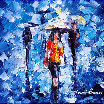 Rain Women - PALETTE KNIFE Oil Painting On Canvas By Leonid Afremov by Leonid Afremov