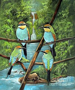 Rainbow Bee-eaters in Kakadu  Northern Australia by Audrey Russill