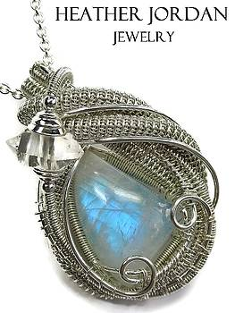 Rainbow Moonstone and Tarnish-Resistant Sterling Silver Wire-Wrapped Pendant with Herkimer Diamond by Heather Jordan