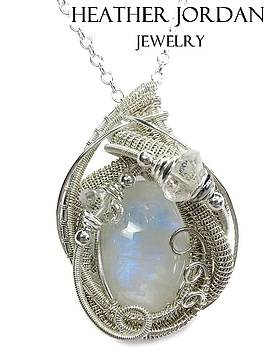 Rainbow Moonstone and Tarnish-Resistant Sterling Silver Wire-Wrapped Pendant with Herkimer Diamonds by Heather Jordan