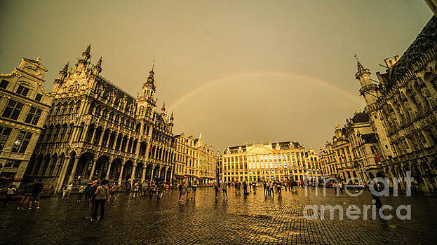 Rainbow over Le Grand Place  by Rob Hawkins