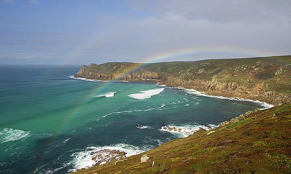 Rainbow over Nanjizal Bay in Cornwall by Pete Hemington