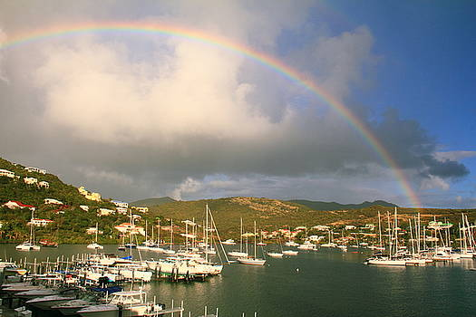 Rainbow over Oyster Pond, St. Martin by Roupen  Baker