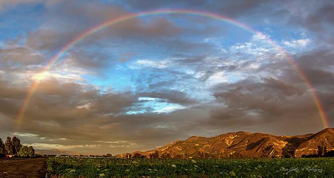 Rainbow over South Mountain at Santa Paula, CA by John A Rodriguez