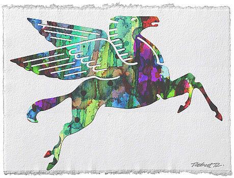 Rainbow Pegasus Mobil Print Poster by Robert R Splashy Art Abstract Paintings