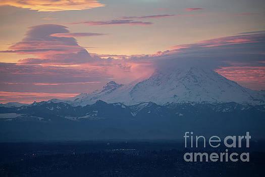 Rainier Lenticular Clouds Sunrise by Mike Reid