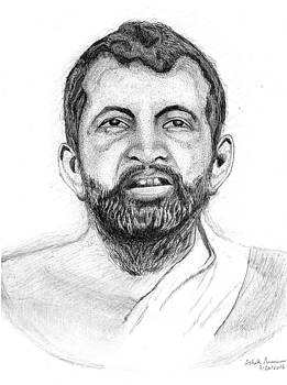 Ramakrishna Paramahamsa Ball Point Pen Drawing by Ashok Naraian