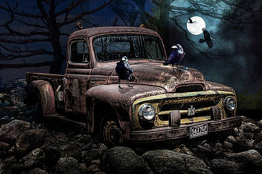 Randall Nyhof - Ravens with Old Pickup Truck in the Moonlight