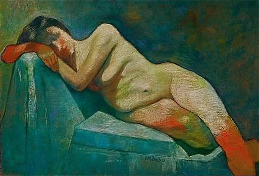 Reclining Nude by Evelyn  M  Breit