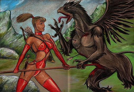 Red Amazon and Gryphon by Alan Lancaster