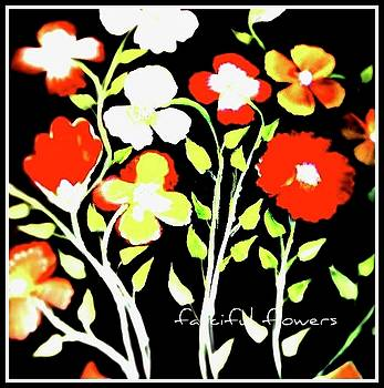 Red and Black abstract Floral by Kathy Othon