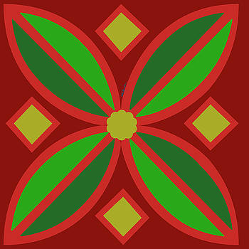Kate Farrant - Red and Green Flower 1