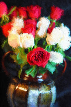 Cindy Boyd - Red and White Roses in a Vase