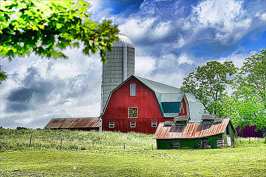 Red Barn and Silo by Pat Carosone