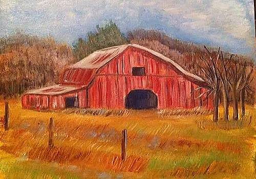 Red Barn painting by Belinda Lawson