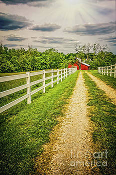 Red Barn on Country Road by Peggy Franz