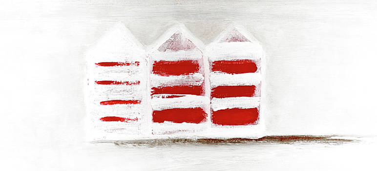 Red Beach Huts by Frank Tschakert
