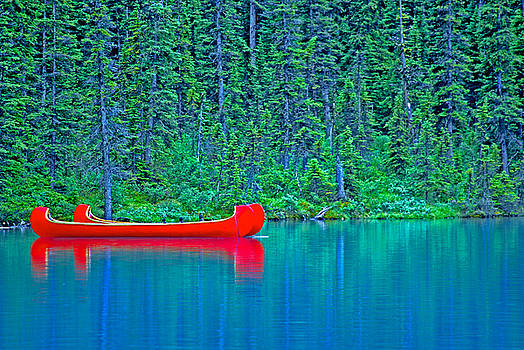 Red Canoes on Lake Louise by Robert Goulet