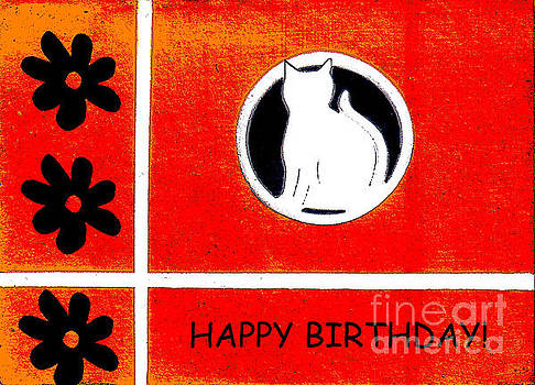 Red Cat Birthday Card by Sharon K Shubert