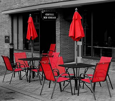 Red Chairs and Umbrellas by Rodney Williams