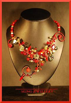 Red Coral and Crystal Wire Wrapped Necklace by Janine Antulov