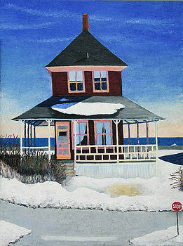 Red Cottage Winter by Barbara Nolan