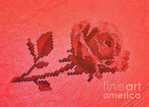 Red Cross Stitch Rose Pattern by Linda Phelps