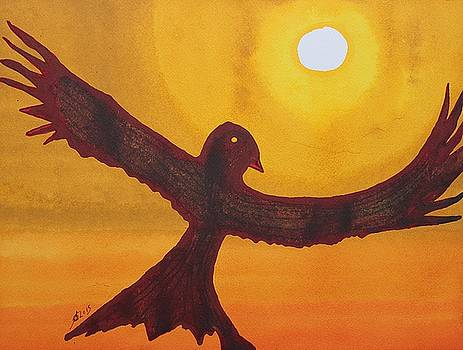 Red Crow Repulsing the Monkey original painting by Sol Luckman