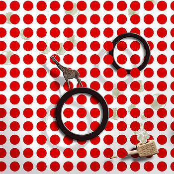 Red Dot-Bubbles-Giraffe by Jim Kuhlmann